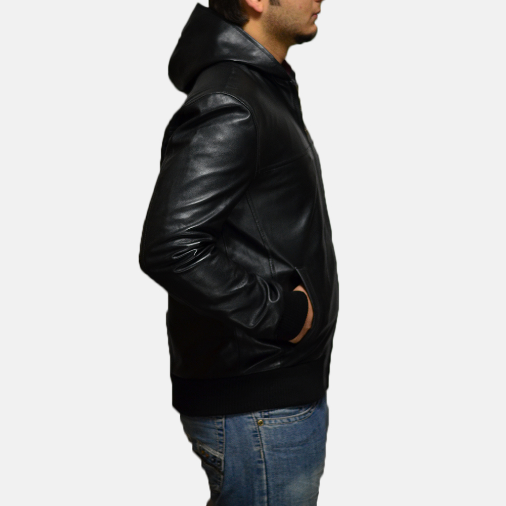 Mens Nintenzo Black Hooded Leather Jacket 2