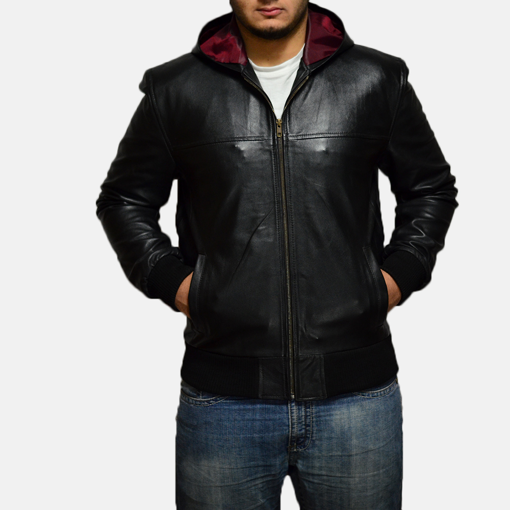 Mens Nintenzo Black Hooded Leather Jacket 1