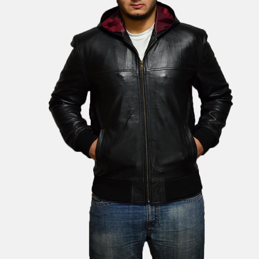 Mens Nintenzo Black Hooded Leather Jacket