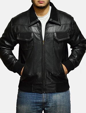 Mens Jake Hall Black Leather Jacket
