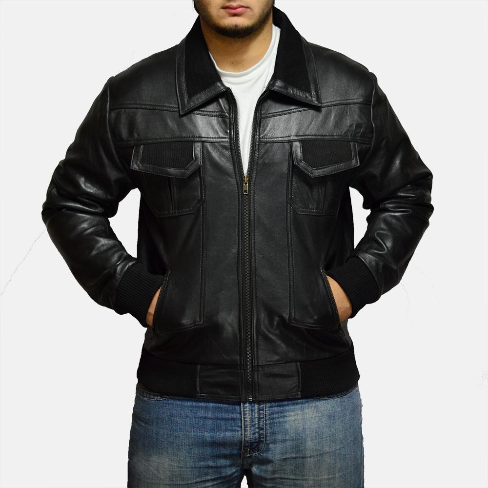 Mens Jake Hall Black Leather Jacket 1