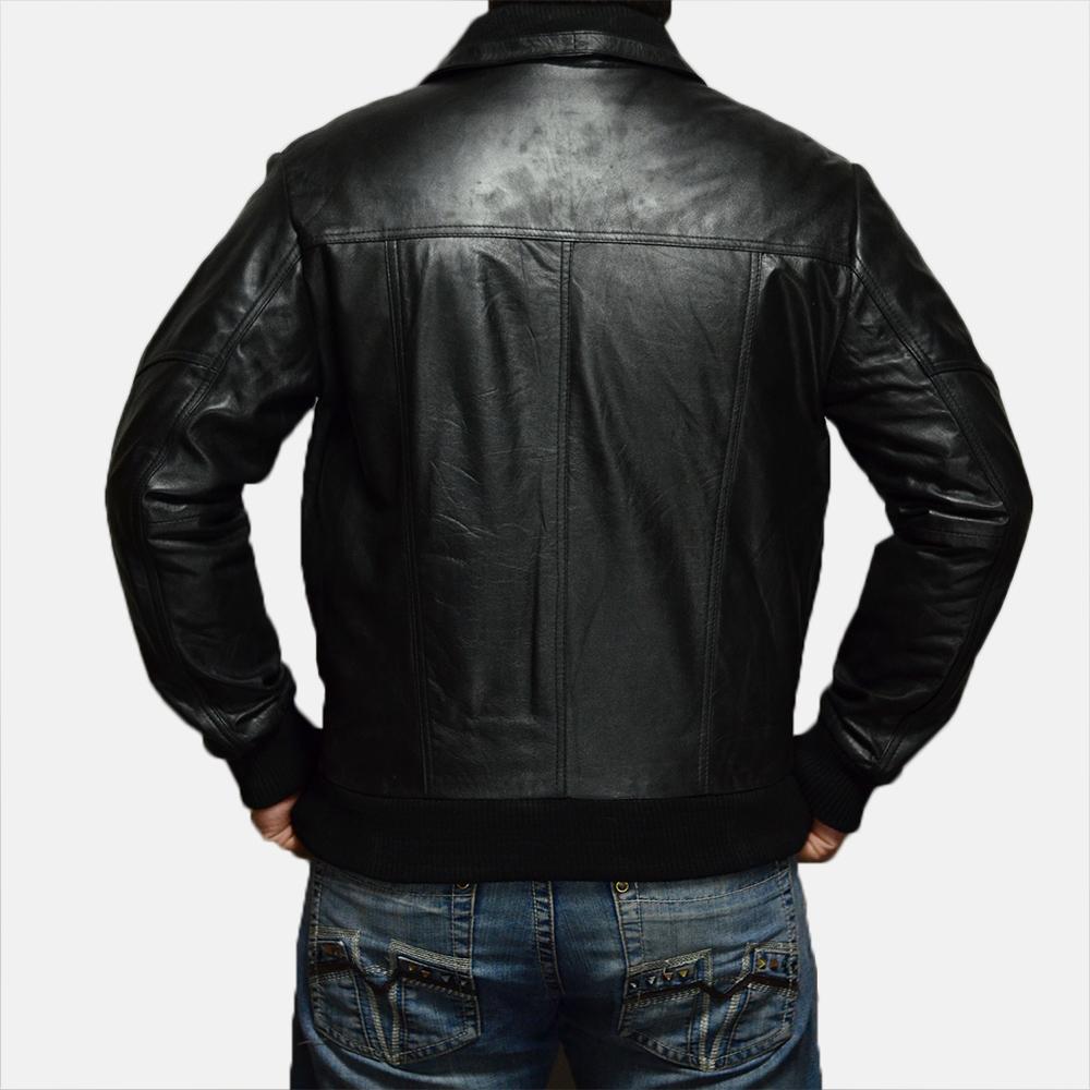 Mens Jake Hall Black Leather Jacket 4