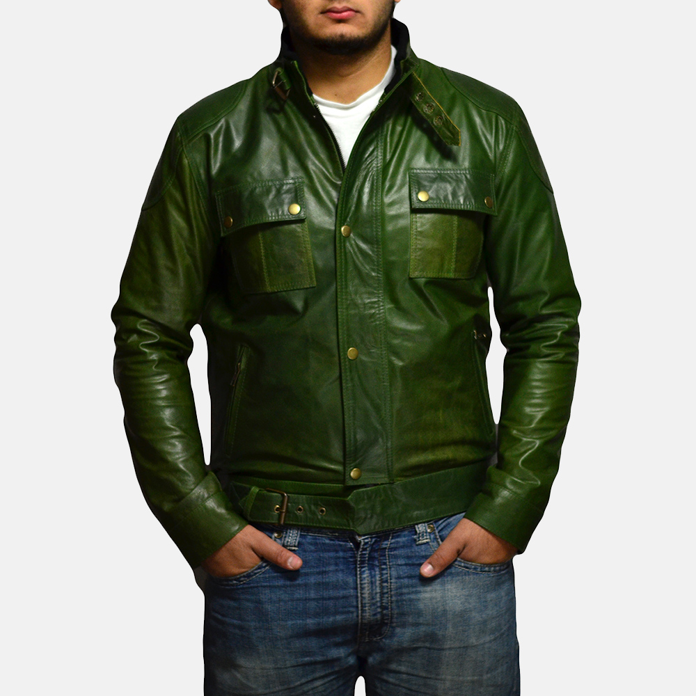 Mens Krypton Green Leather Jacket 1