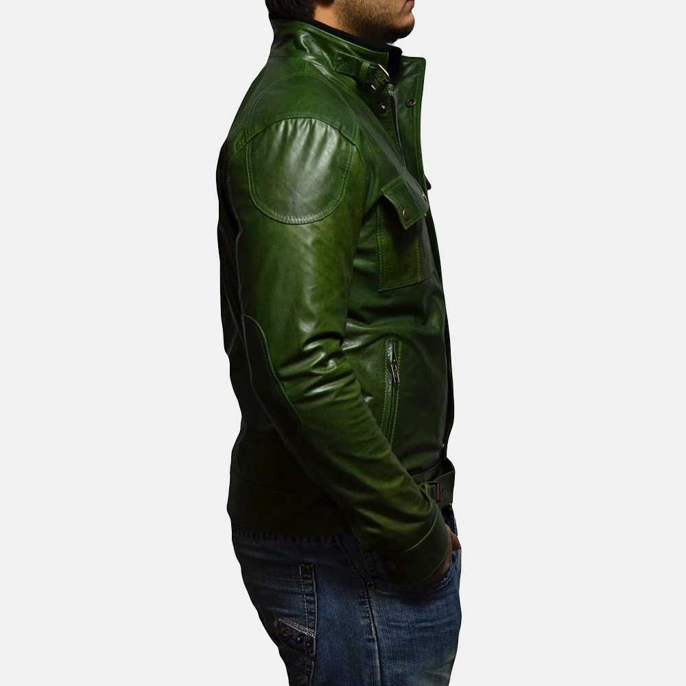 Mens Krypton Green Leather Jacket 3