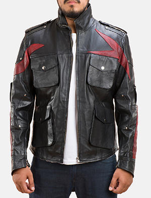 Mens Damon Black Leather Jacket 1