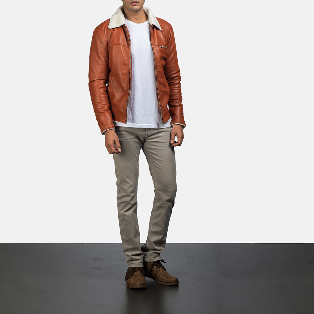 Mens Dan Frost Tan Shearling Jacket 5