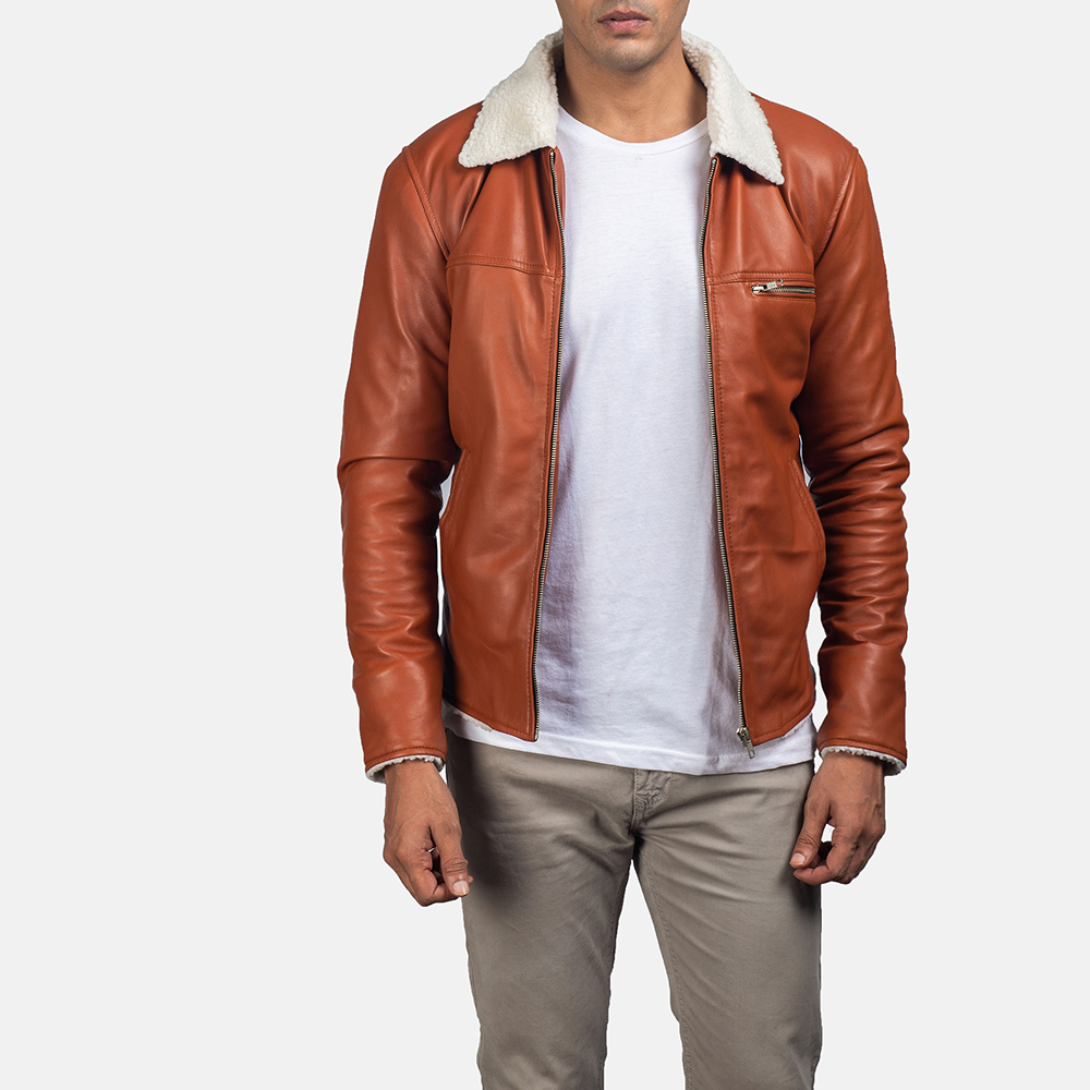 Mens Dan Frost Tan Shearling Jacket 1