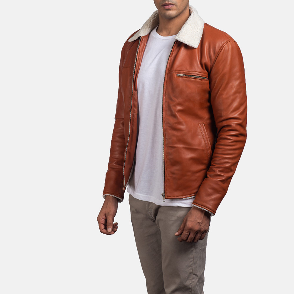 Mens Dan Frost Tan Shearling Jacket 2