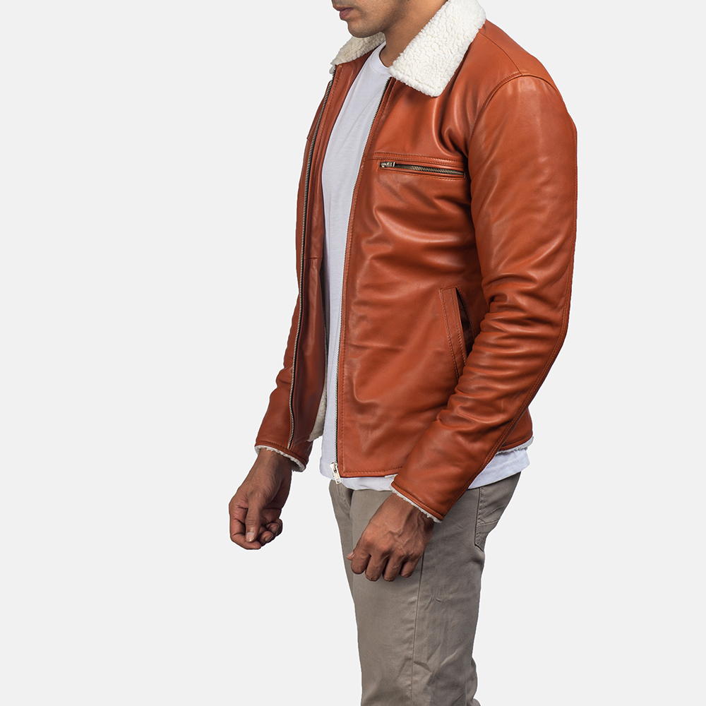 Mens Dan Frost Tan Shearling Jacket 3