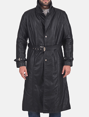 Mens Daniel Black Leather Trench Coat
