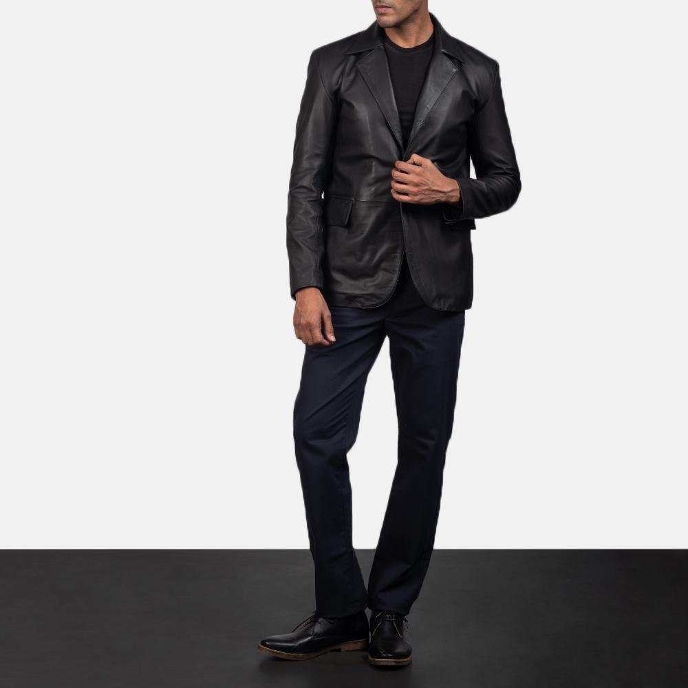 Men's Daron Black Leather Blazer 1