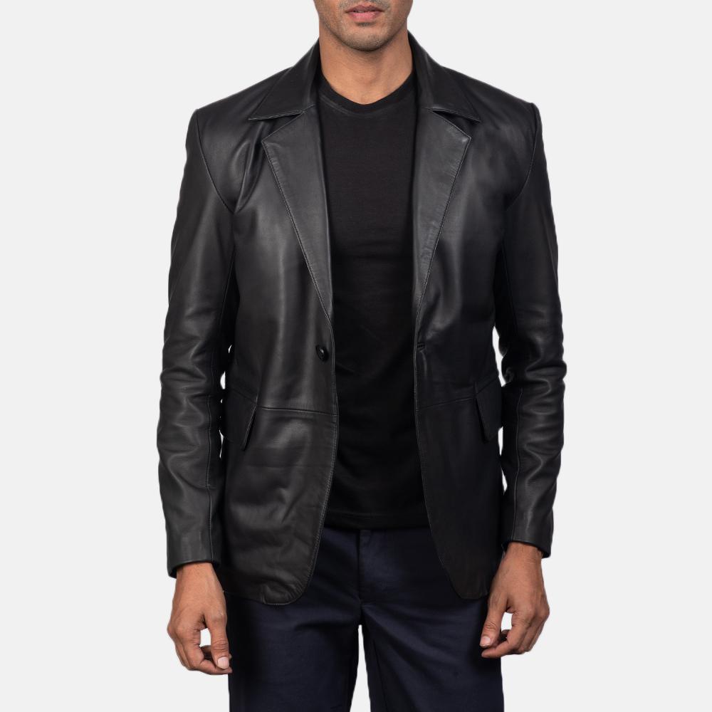 Men's Daron Black Leather Blazer 2