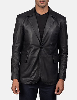 Daron black leather blazer for men 2793 1550657462643