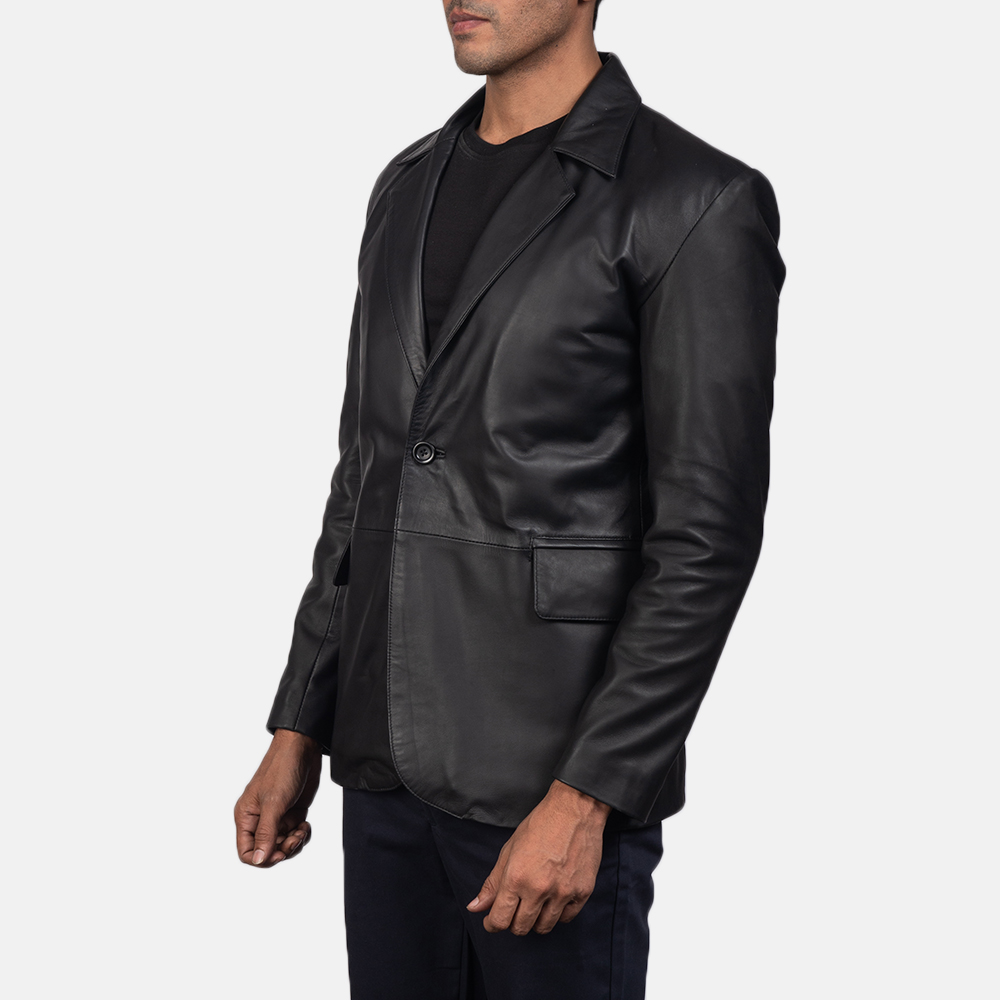 Men's Daron Black Leather Blazer 3
