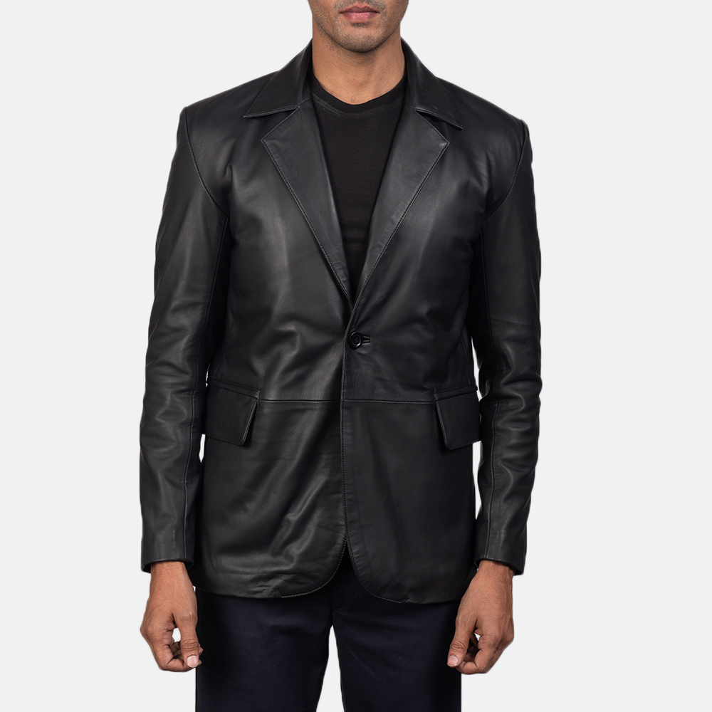 Men's Daron Black Leather Blazer 4