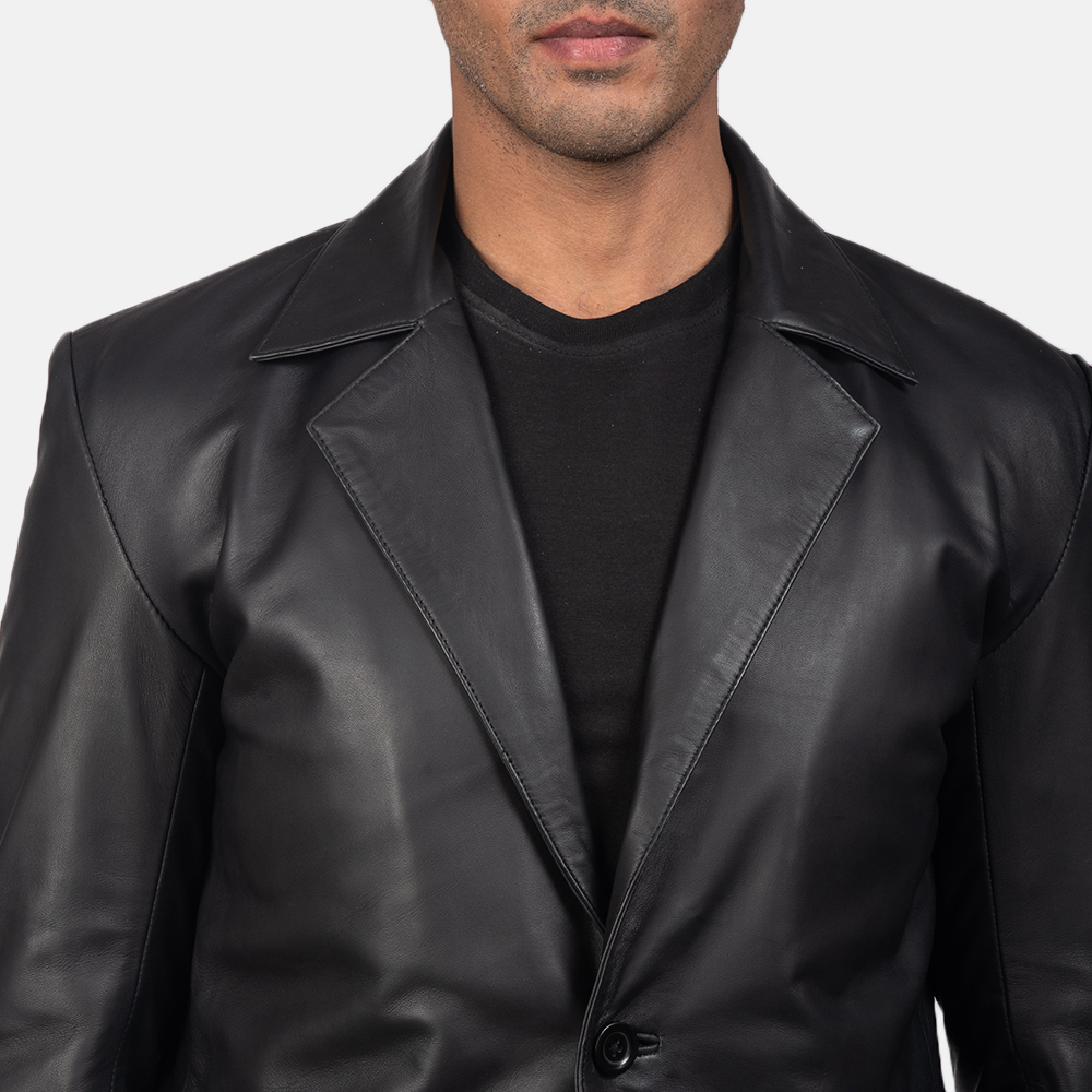 Men's Daron Black Leather Blazer 6