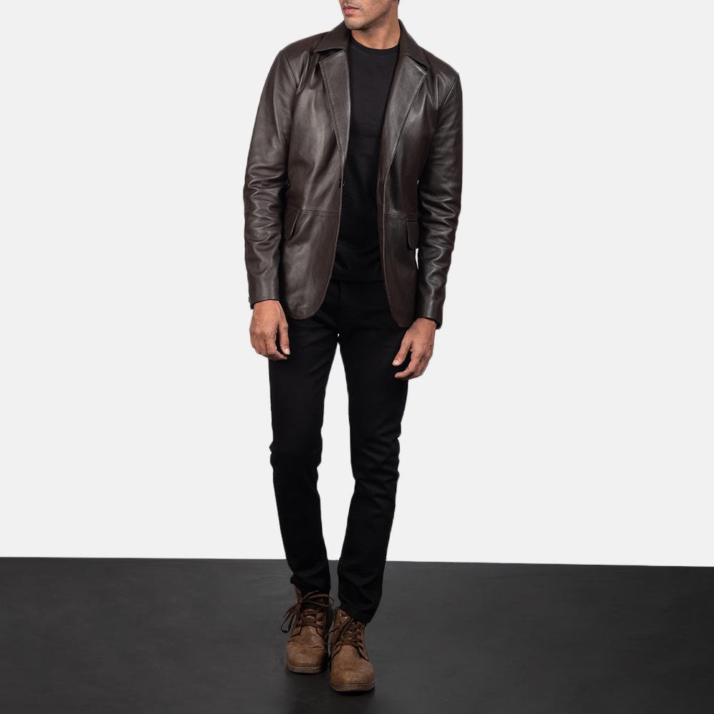 Men's Daron Brown Leather Blazer 1