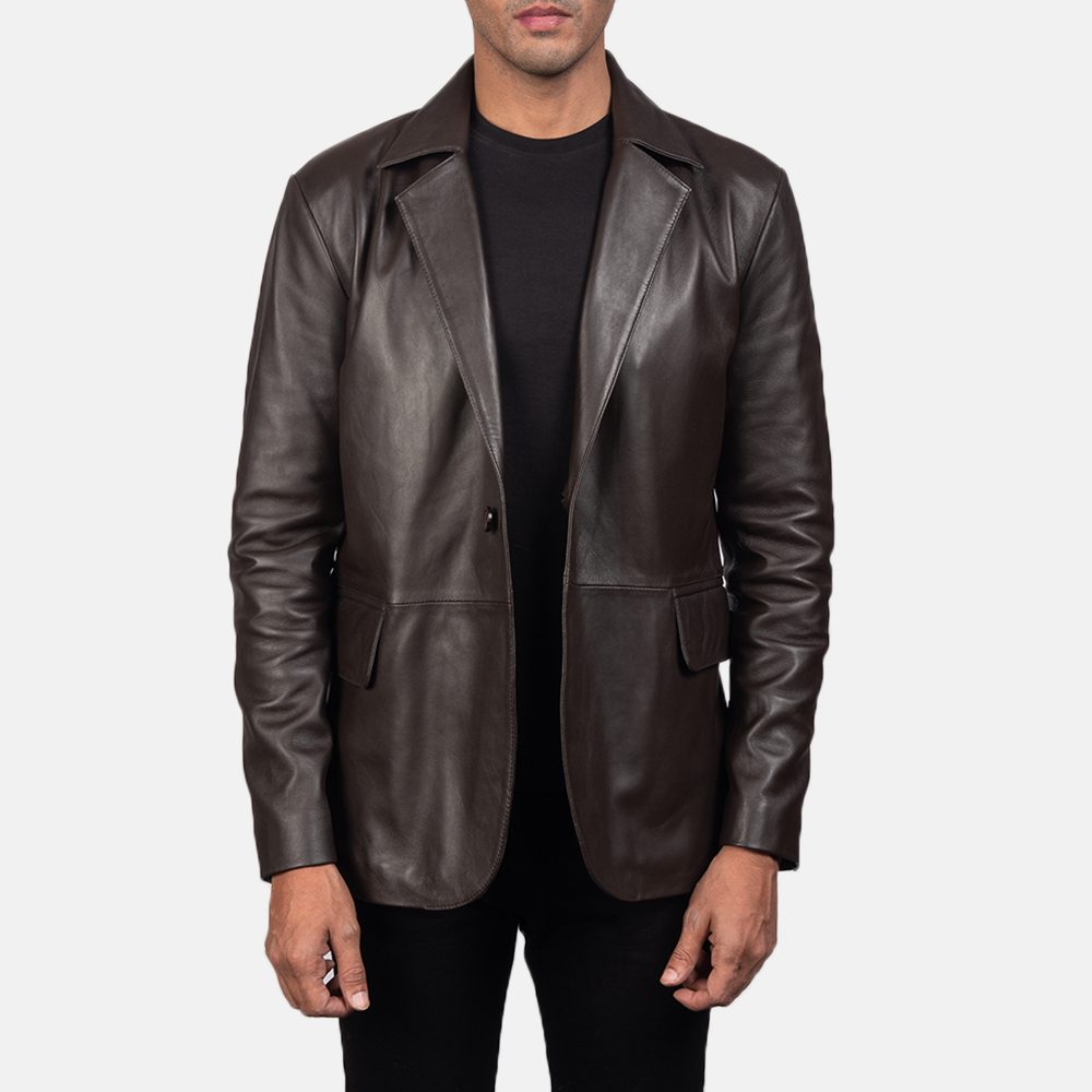 Men's Daron Brown Leather Blazer 2