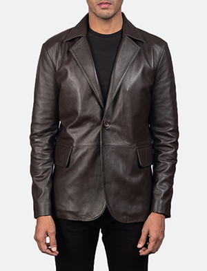 Men's Daron Brown Leather Blazer
