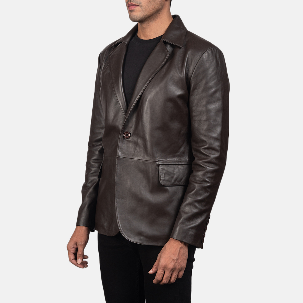 Men's Daron Brown Leather Blazer 3