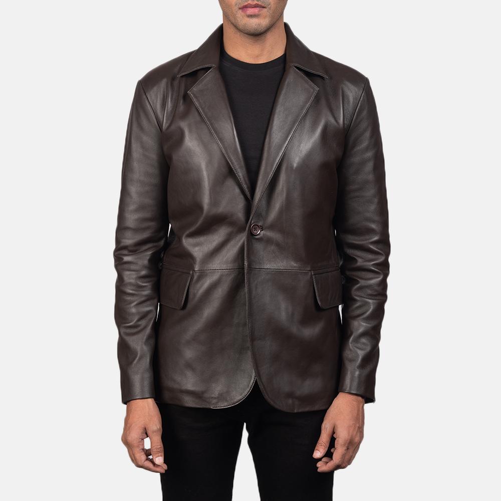 Men's Daron Brown Leather Blazer 4