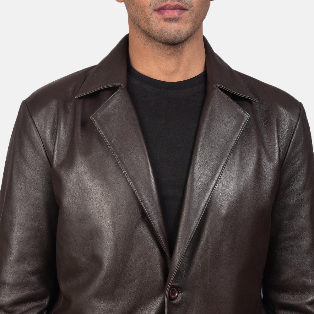Men's Daron Brown Leather Blazer 6