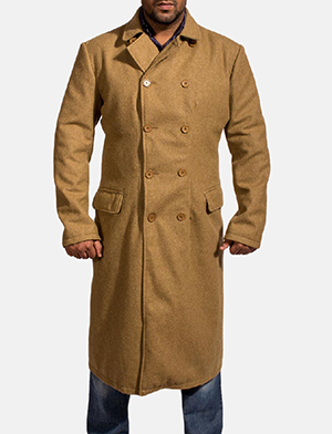 Mens Froth Khaki Wool Peacoat