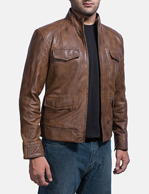 Mens Smudge Brown Leather Biker Jacket