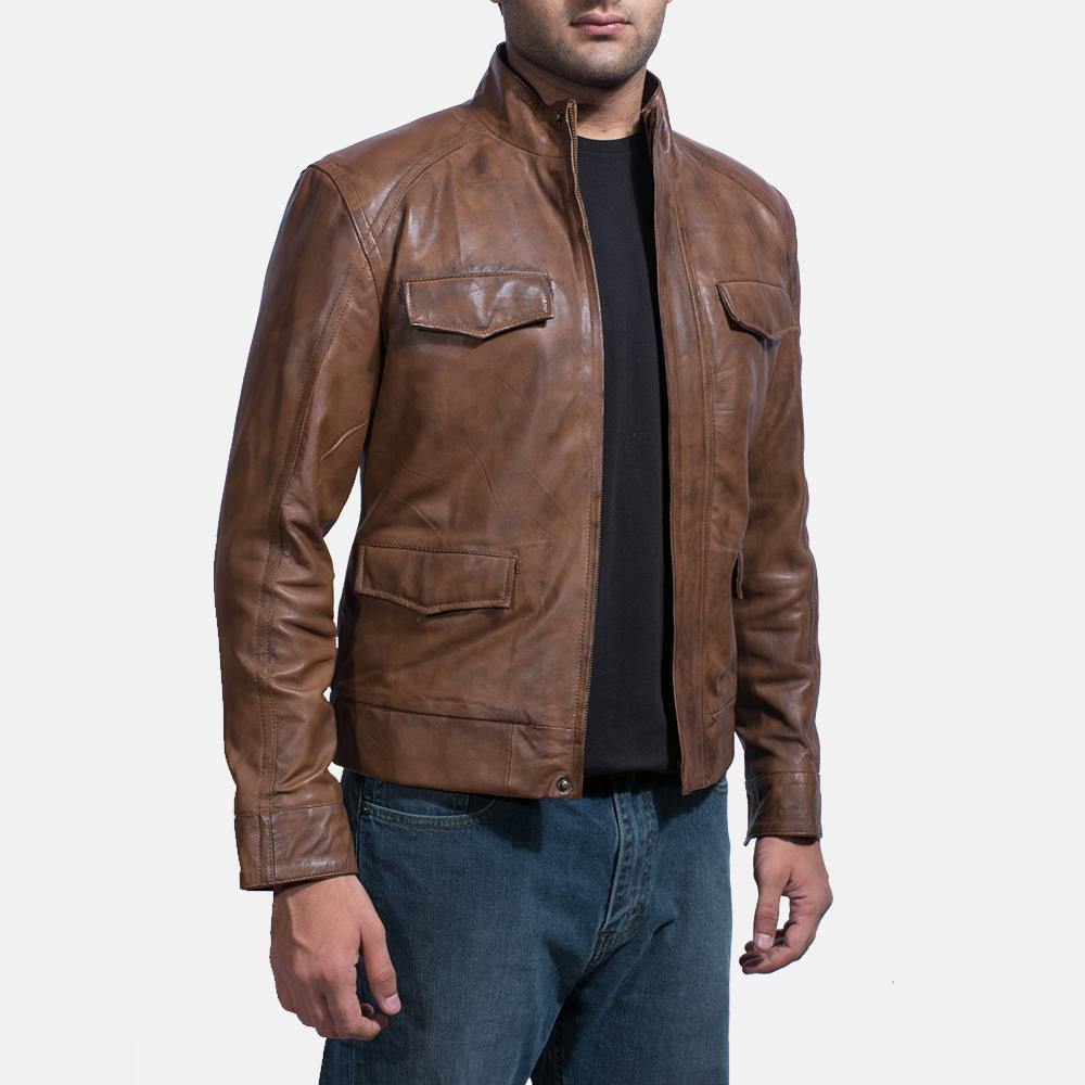 Mens Smudge Brown Leather Biker Jacket 1