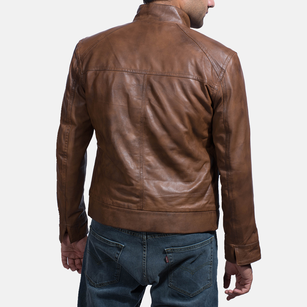 Mens Smudge Brown Leather Biker Jacket 5