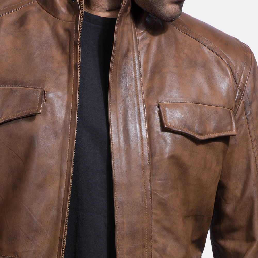 Mens Smudge Brown Leather Biker Jacket 2
