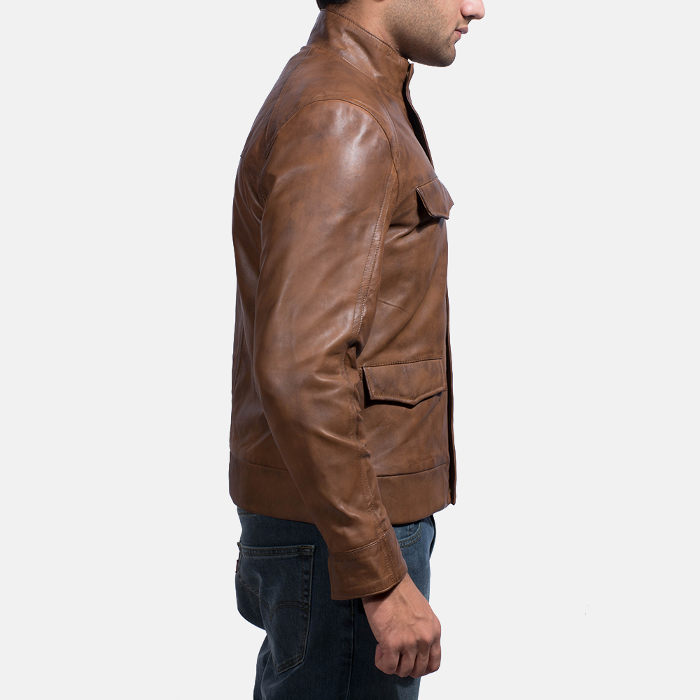 Mens Smudge Brown Leather Biker Jacket 4