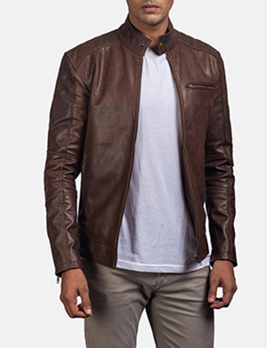 Mens Dean Brown Leather Biker Jacket