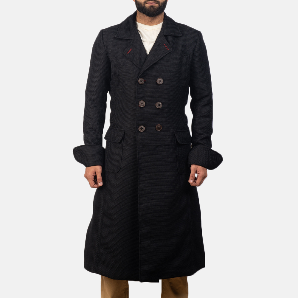 Mens Detective Black Peacoat 1