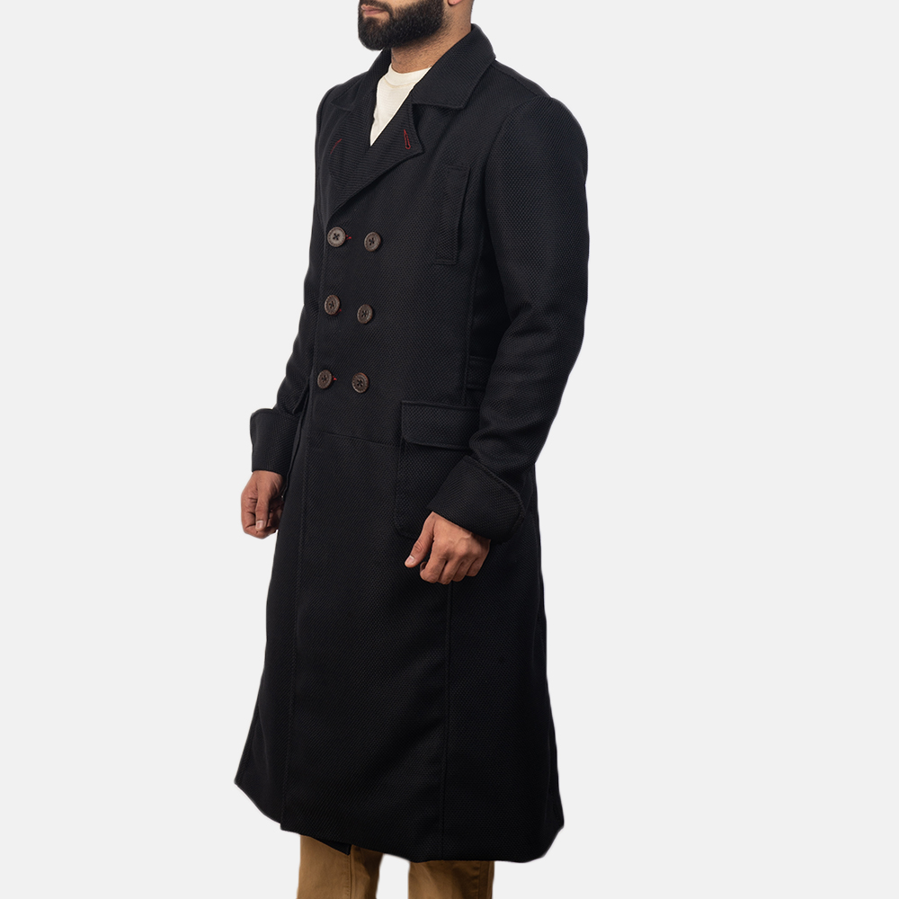 Mens Detective Black Peacoat 3
