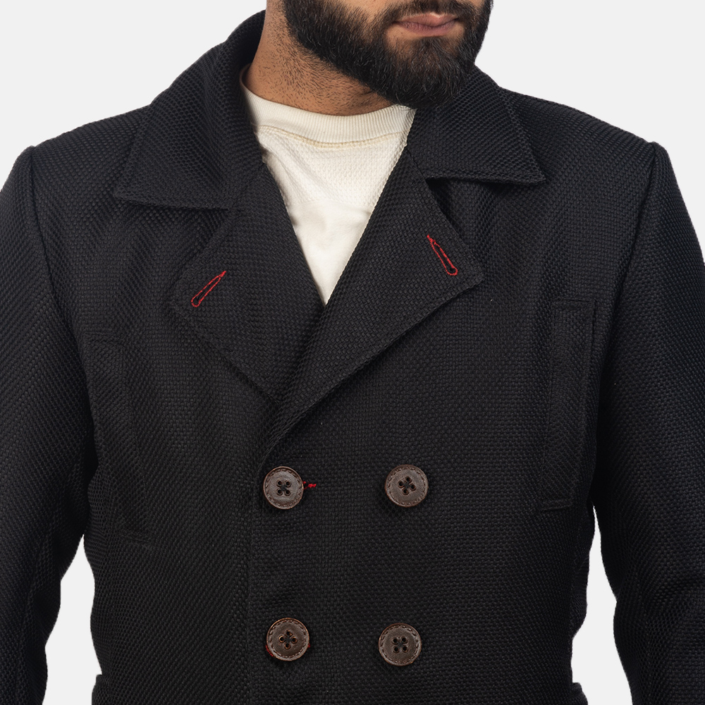 Mens Detective Black Peacoat 5