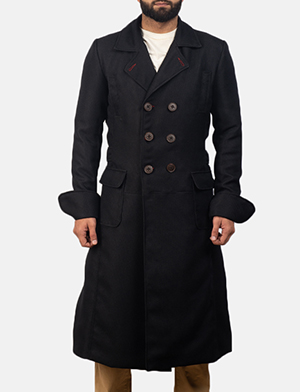 Mens Detective Black Peacoat