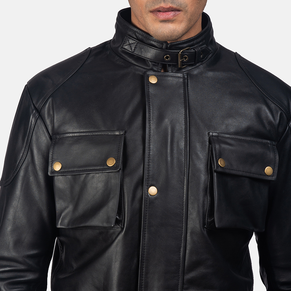 Mens Dolf Black Leather Jacket 6