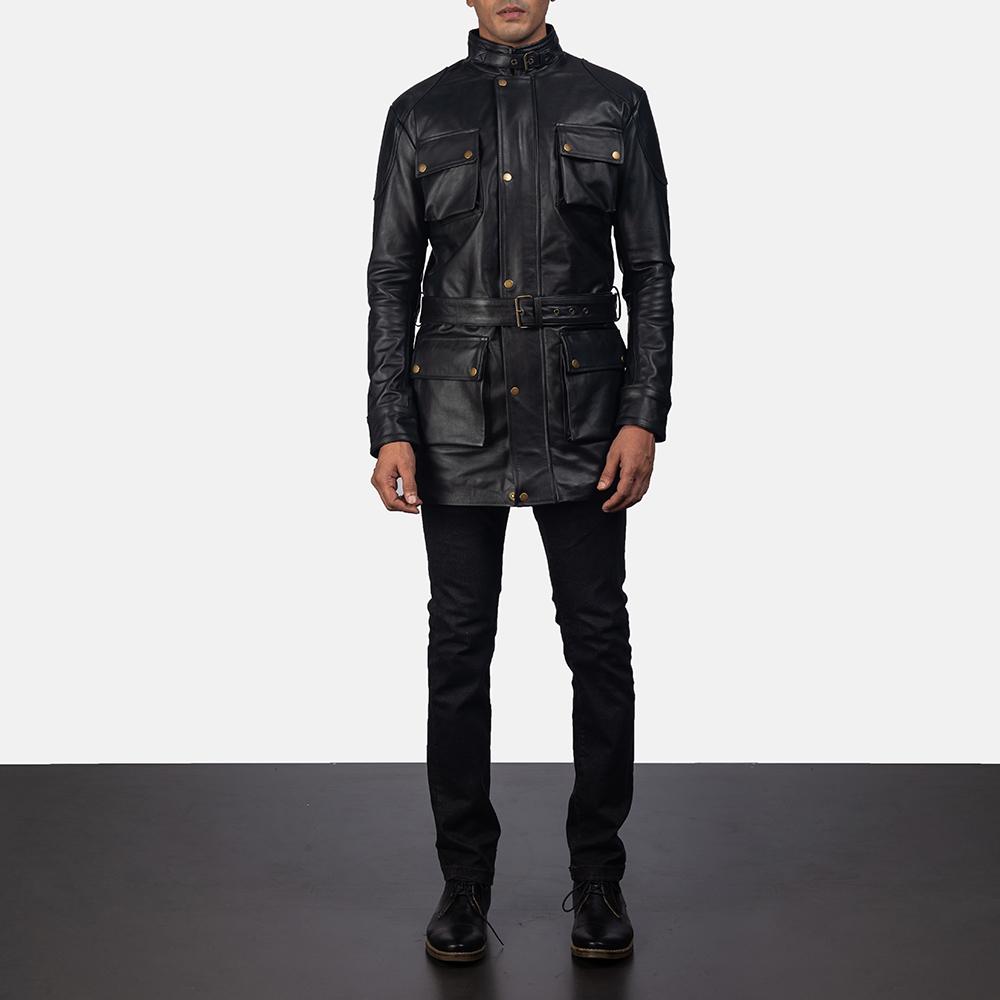 Mens Dolf Black Leather Jacket 5