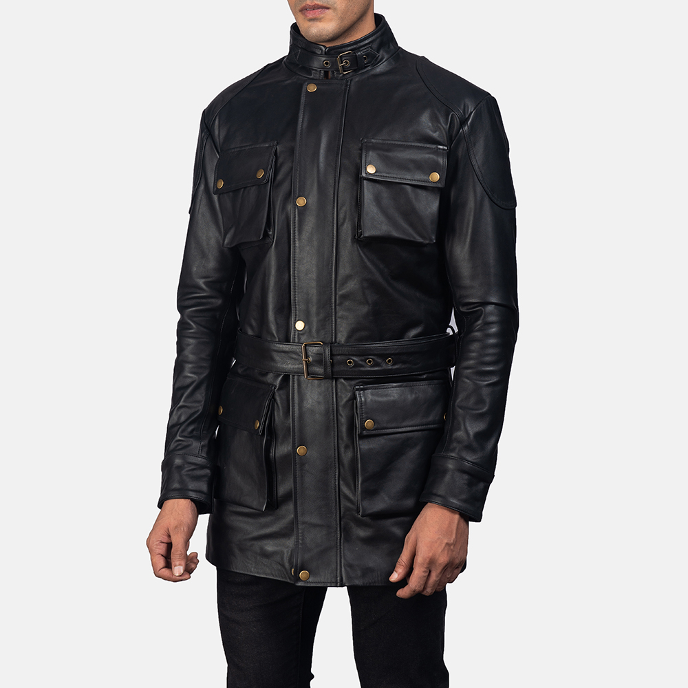 Mens Dolf Black Leather Jacket 2