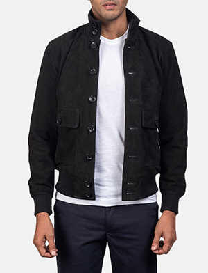 Men's Eaton Black Suede Bomber Jacket