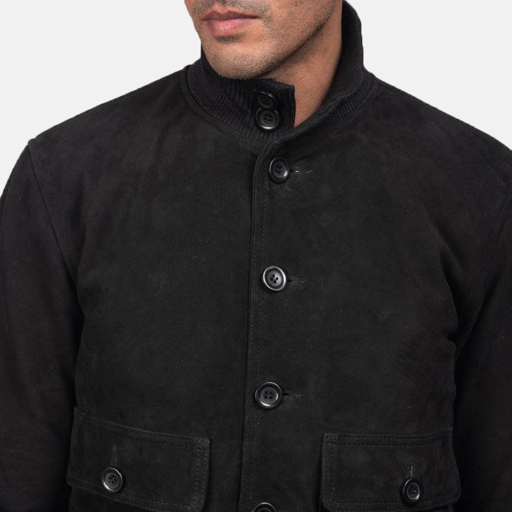 Men's Eaton Black Suede Bomber Jacket 7