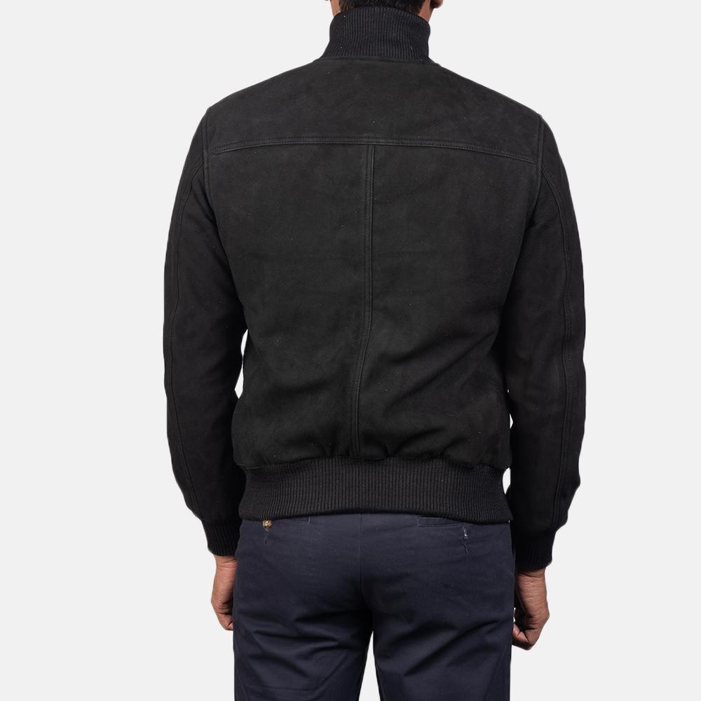 Men's Eaton Black Suede Bomber Jacket 5