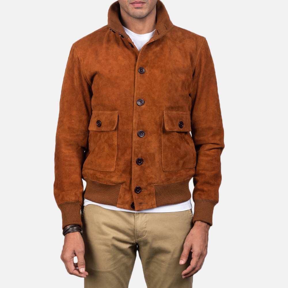 Men's Eaton Brown Suede Bomber Jacket 2