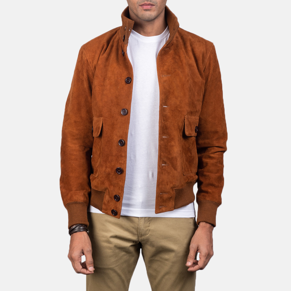 Men's Eaton Brown Suede Bomber Jacket 3