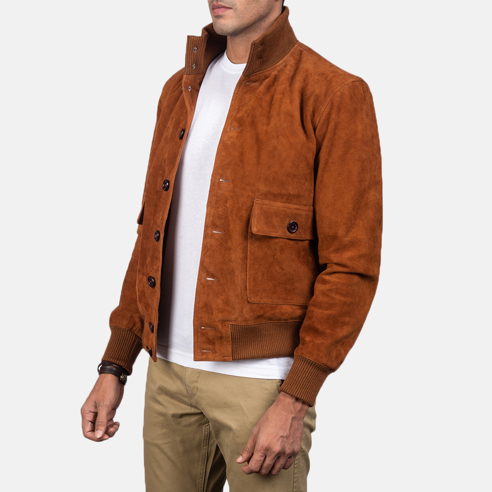 Men's Eaton Brown Suede Bomber Jacket 4