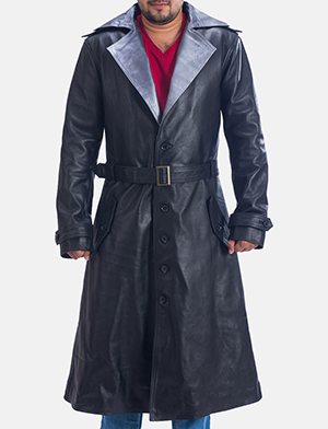 Mens Enigma Black Leather Trench Coat 1