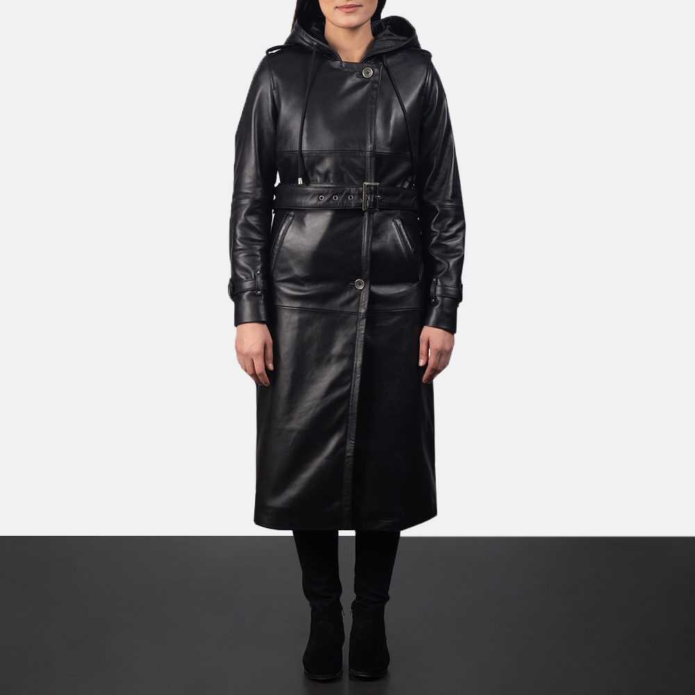 Women's Fixon Hooded Black Trench Coat 3