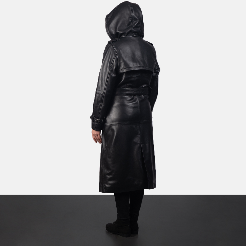 Women's Fixon Hooded Black Trench Coat 4