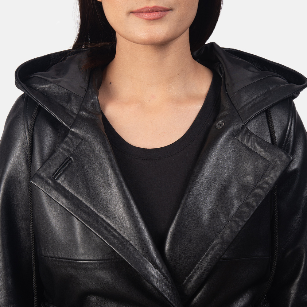 Women's Fixon Hooded Black Trench Coat 5
